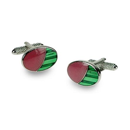 Pink And Green Ovals Cufflinks