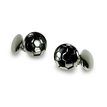 Silver Plate Football Chain Link Cufflinks