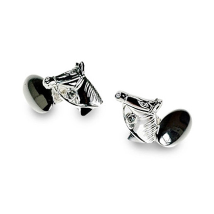 Silver Plate Horse Chain Link Cufflinks