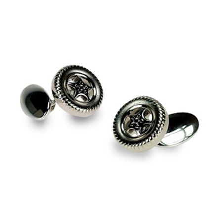 Silver Plate Tyre Chain Link Cufflinks