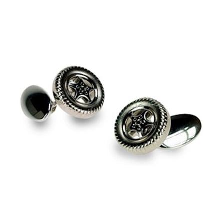 Silver Plate Tyre Chain Link Cufflinks