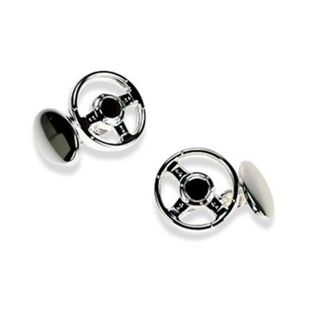 Silver Plate Steering Wheel Chain Link Cufflinks