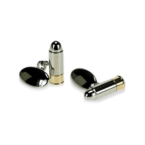 Silver Plate Bullet Chain Link Cufflinks