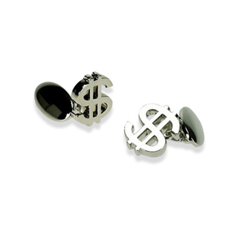 Silver Plate Dollar Sign Chain Link Cufflinks
