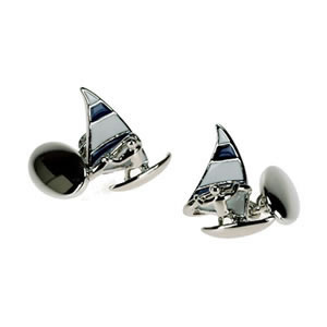Silver Plate Wind Surfer Chain Link Cufflinks