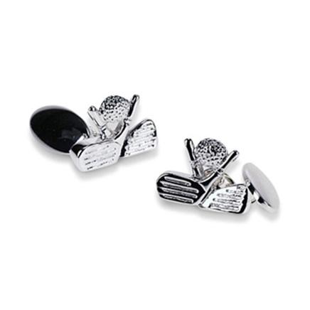 Silver Plate Golf Chain Link Cufflinks