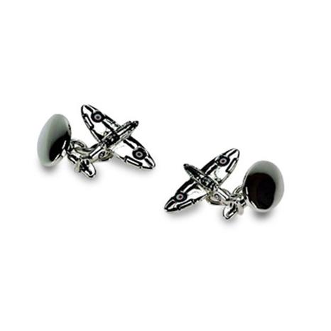 Silver Plate Spitfire Chain Link Cufflinks