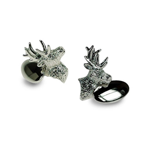 Silver Plate Stag Chain Link Cufflinks