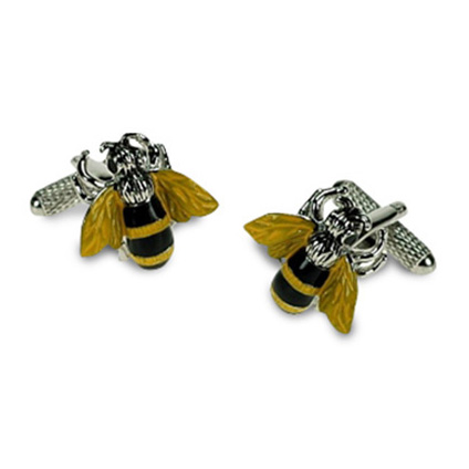 Yellow And Black Busy Bee Cufflinks