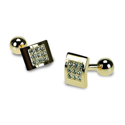 Gilt And Clear Crystal Cufflinks