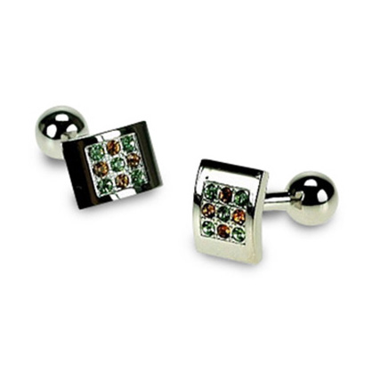 Rhodium With Peridot And Topaz Crystal Cufflinks
