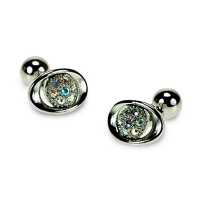 Silver And Clear Crystal Cufflinks