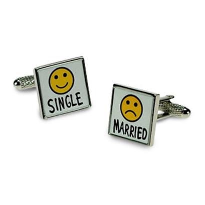 Smiley Face Single Married Cufflinks