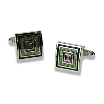 Lime And Purple Square Cufflinks