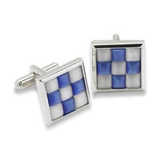 Blue And White Check Catseye Cufflinks