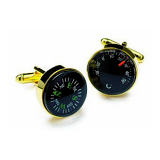 Gold Look Compass And Thermometer Cufflinks