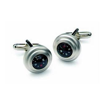 Satin Silver Compass Cufflinks
