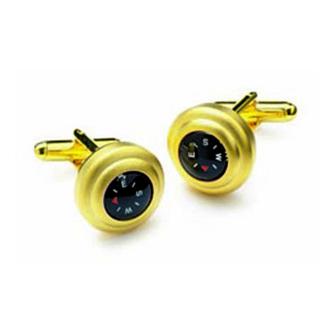Satin Gold Compass Cufflinks