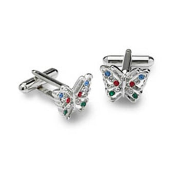 Multicoloured Butterfly Cufflinks