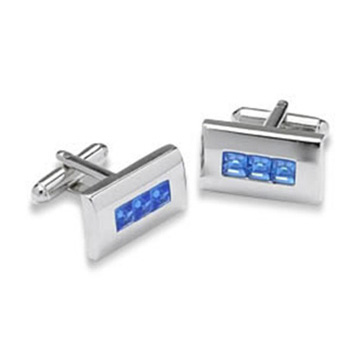 Rectangular Shaped Blue Crystal Cufflinks