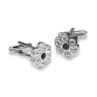 Floral Clear And Black Crystal Cufflinks