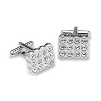 Rectangular Clear Crystal Cufflinks