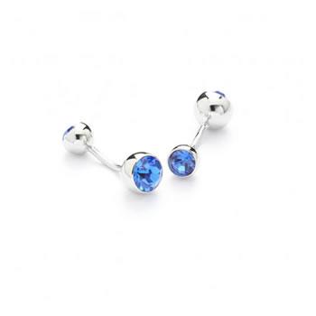 Blue Crystal Barbell Cufflinks