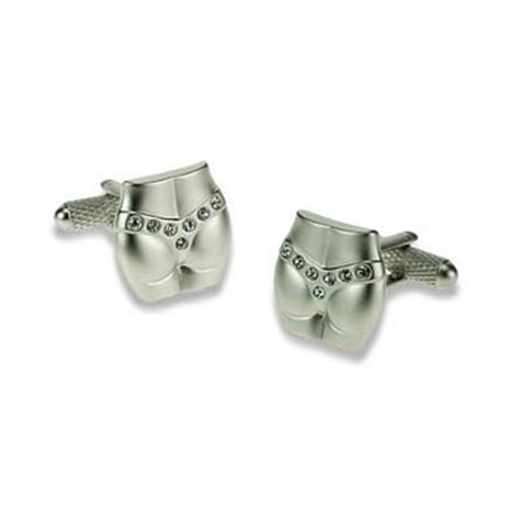 Silver Crystal G String Cufflinks
