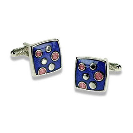 Blue And Pink Dots Cufflinks