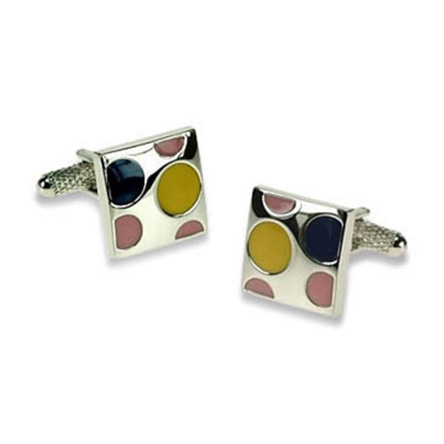 Yellow Blue And Pink Spots Cufflinks