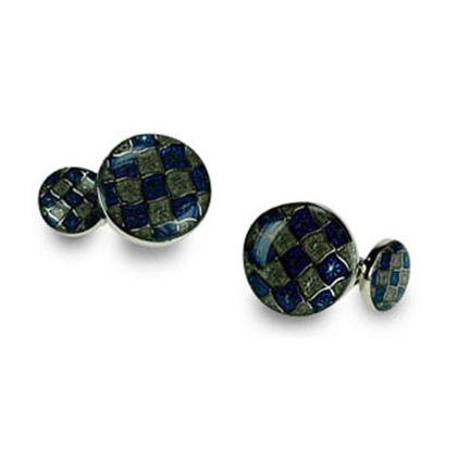 Blue And Silver Oval Cufflinks