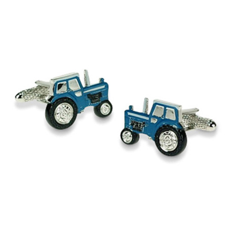 Detailed Blue Tractor Cufflinks