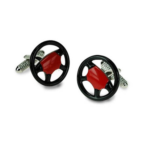 Black And Red Steering Wheel Cufflinks