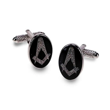 Masonic Oval Black Cufflinks