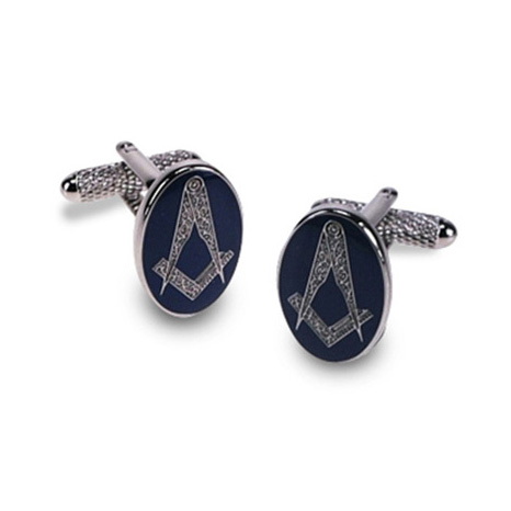 Masonic Oval Blue Cufflinks