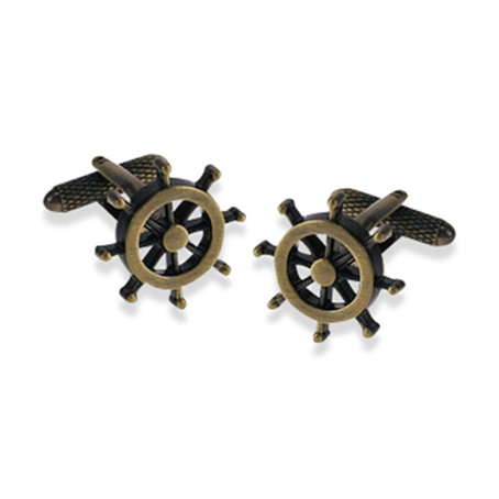 Ship Wheel Burnished Gold Cufflinks