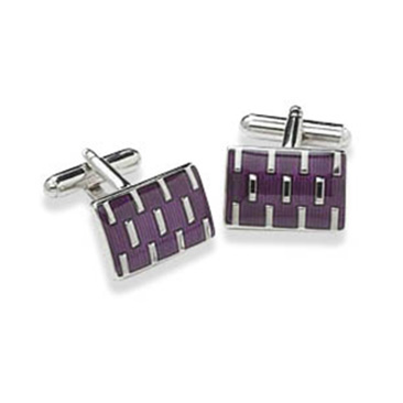 Rectangular Purple And Silver Cufflinks