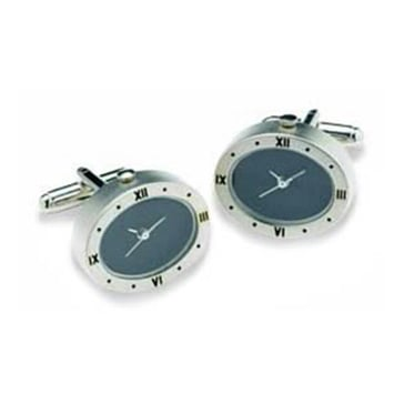 Oval Silver And Black Watch Cufflinks