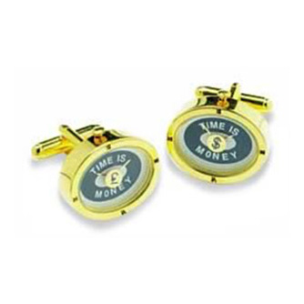 Gold Time Is Money Watch Cufflinks