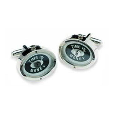 Silver Time Is Money Watch Cufflinks