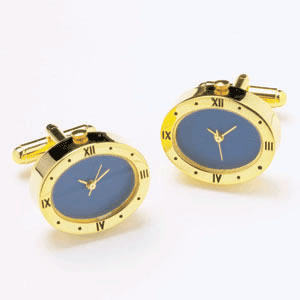 Oval Gold And Blue Watch Cufflinks