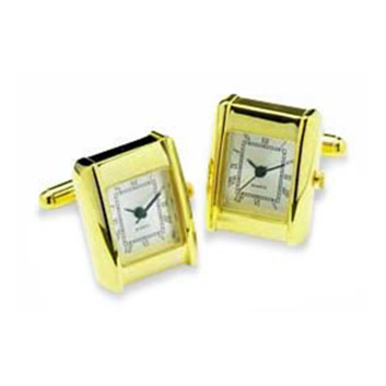 Gold Rectangular Watch Cufflinks