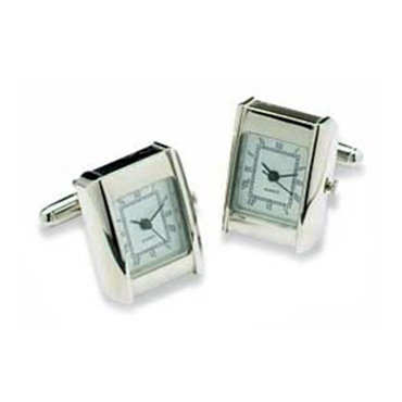 Silver Rectangular Watch Cufflinks