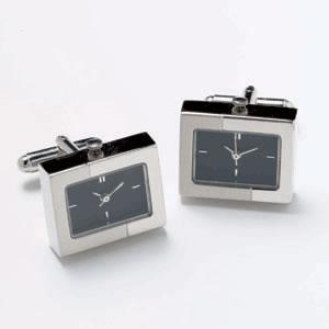 Silver And Black Dual Finish Watch Cufflinks