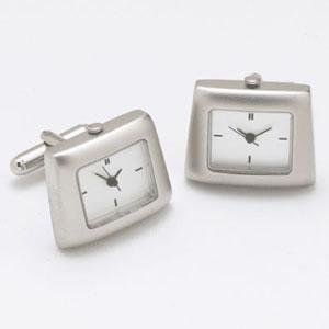 Silver And White Satin Watch Cufflinks