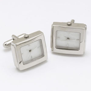 Silver And White Watch Cufflinks