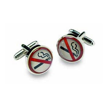 No Smoking Circular Cufflinks