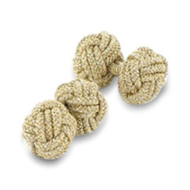 Gold Lurex Silk Knot Cufflinks