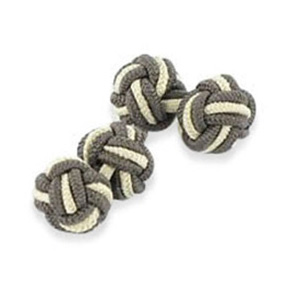Brown And Cream Silk Knot Cufflinks