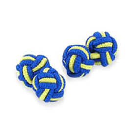 Royal Blue And Yellow Silk Knot Cufflinks